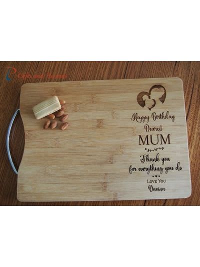 Personalised Engraved Bamboo rectangle cutting board S/S handle-Gift for Mum-Gift for Nana-Birthday gift for her-Happy birthday dearest MUM