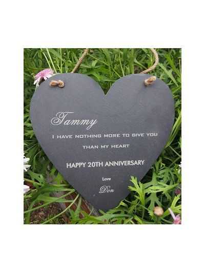 Personalised Slate Heart Shape Memo Board - Happy Anniversary/Birthday/Valentine's Day