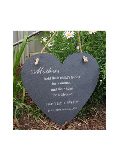 Personalised Slate Heart Shape Memo Board - Happy Mother's Day
