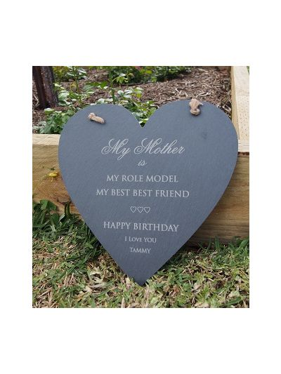 Personalised Slate Heart Shape Memo Board - Happy Birthday to MUM