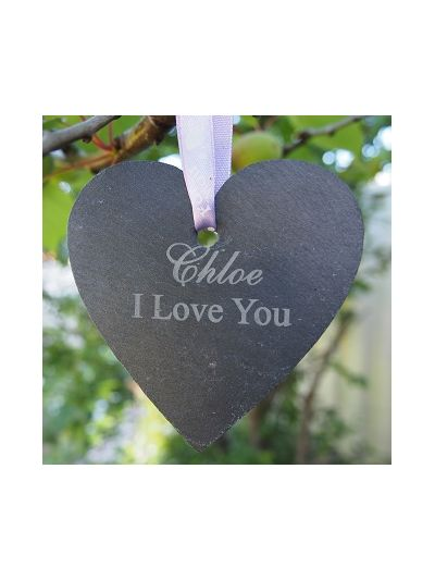 Personalised Slate Little Heart shape Hanging Craft - Set of 4