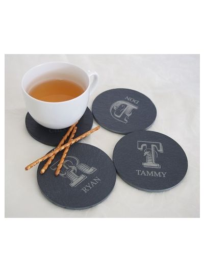 Personalised Slate Round Shape Coaster, Cut Edge - Set of 4
