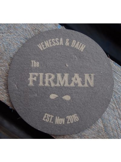Personalised Slate Coaster - Round shape - Cut Edge - Wedding Favours - Set of 25