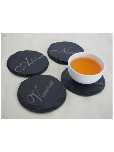 Personalised Slate Round Shape Coasters, Natural Edge - Set of 4