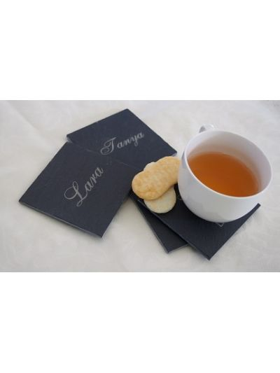 Personalised Slate Square Coaster, Cut edge - Set of 4