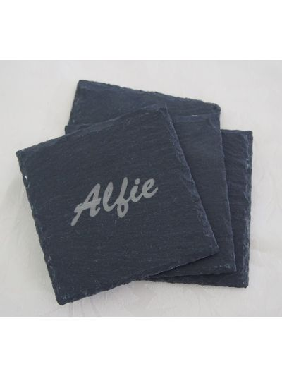 Personalised Slate Square Shape Coasters, Natural Edge - Set of 4