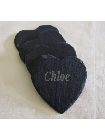 Personalised Slate Heart Shape Coaster, Natural Edge - Set of 4