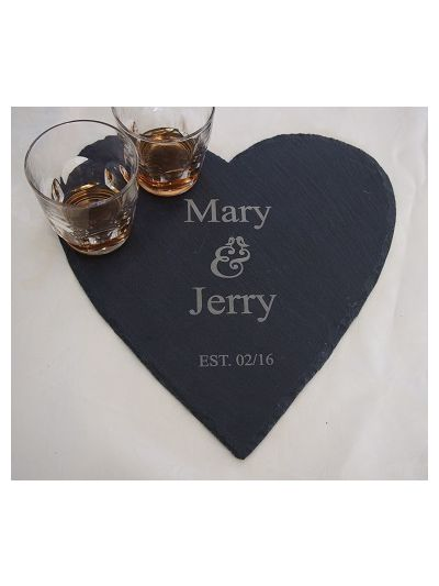 Personalised Slate Heart Shape Plate - with names and date
