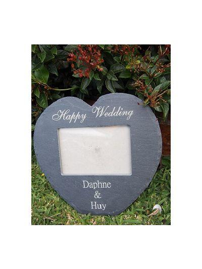 "Personalised Slate Heart Shape Landscape Photo Frame, natural edge 25x23x0.7cm - hold 6x4"" or 15x10cm photo - Happy Wedding / Anniversary"