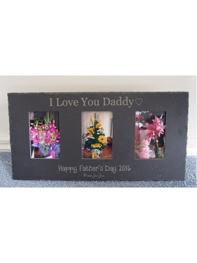 "Slate Personalised Three Photo Frame - Hold 3 x photos 4x6"" or 10x15cm"