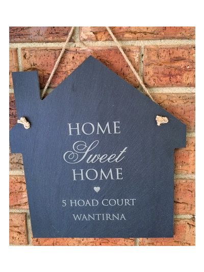 Personalised Slate House Shape Memo Board - Home Sweet Home