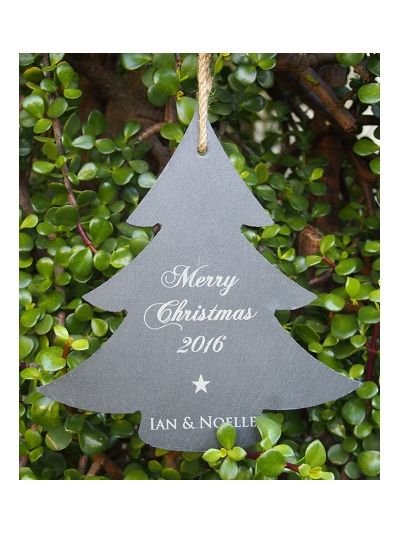 Personalised Slate Christmas Tree Sign - Merry Christmas 2018