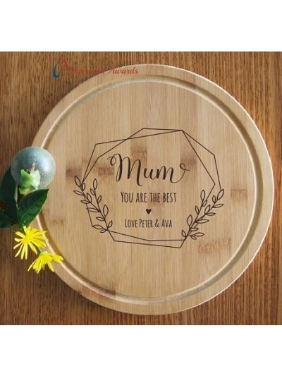 Personalised Engraved Bamboo Round Serving Board, Cheese board -dia 28cm - Gift for Mum/Grandma - Birthday gift for Mum - Mother's day gift- Mum you are the best