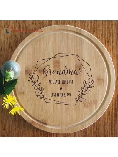 Personalised Engraved Bamboo Round Serving Board, Cheese board -dia 28cm - Gift for Mum/Grandma - Birthday gift for Mum - Mothers day gift- Grandma you are the best