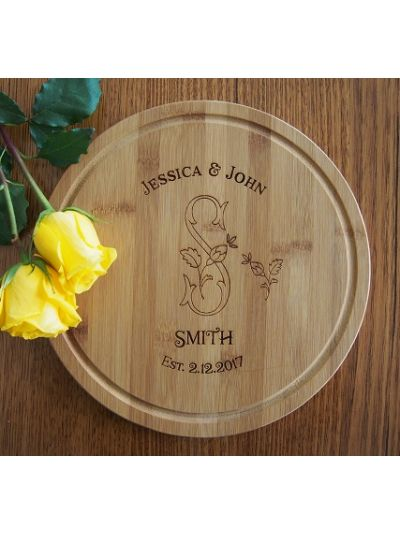 Personalised Engraved Bamboo Serving Board, Round Shape diameter 28cm, thickness 1.4cm - Design 1 - Wedding gift - Anniversary gift - Gift for couple