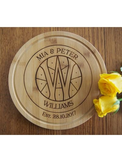 Personalised Engraved Bamboo Serving Board, Round Shape diameter 28cm, thickness 1.4cm - Design 2 - Wedding gift - Anniversary gift - Gift for couple