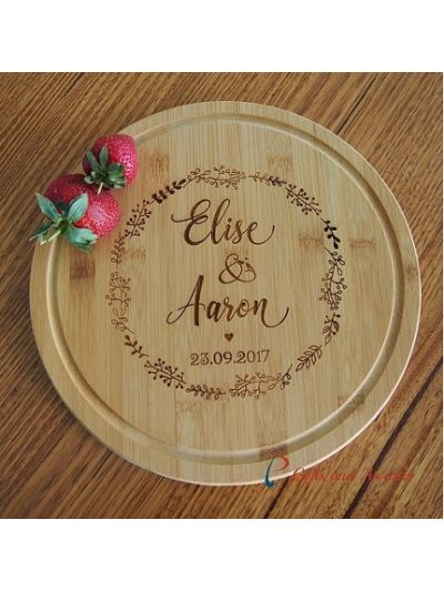 Personalised Engraved Bamboo Round Serving Board diameter 28cm, thickness 1.4cm - Wedding gift / Anniversary Gift / Valentines Gift / Gift for the couple