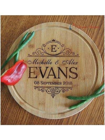 Personalised Engraved Bamboo Round Serving Board diameter 28cm, thickness 1.4cm - Wedding gift / Anniversary Gift / Valentines Gift / Gift for the couple - 2 first names & 1 surname