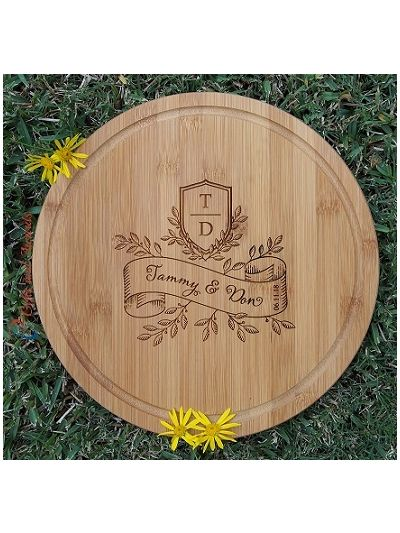 Personalised Engraved Bamboo Round Cheese Board-Wedding gift/Anniversary Gift/Valentines Gift/Engagement gift/Gifts for couple- Banner style