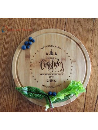 Personalised Bamboo Engraved Round Serving Board diameter 28cm, thickness 1.4cm - Merry Christmas and Happy New Year - Gift for Christmas - Christmas gift