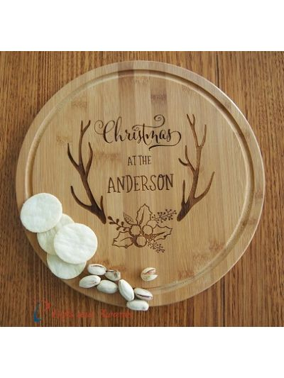Personalised Bamboo Engraved Round Serving Board-Gift for Christmas-Gift ideas-Christmas gift for family- Christmas at the...