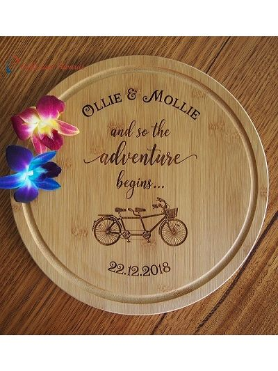 Personalised Engraved Bamboo Round Serving Board dia 28cm - Wedding gift/ Engagement gift/ Gift for the couple/ and so the adventure begins