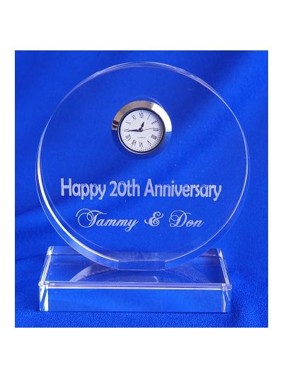 Personalised Engraved Crystal Round shape desk clock - Happy Anniversary