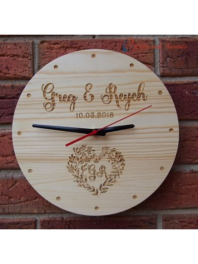 Personalised Engraved Wall Clock, round shape dia 30cm-Wedding gift-Anniversary gift-Valentines gift-Gift for the couple- Leaf heart wreath
