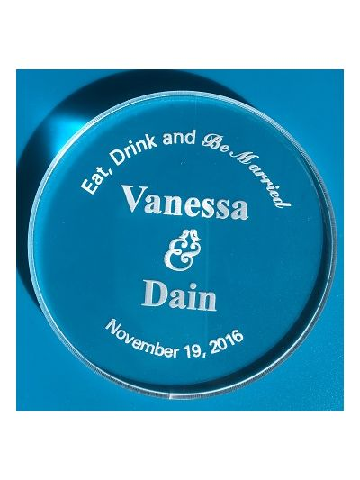 Personalised Acrylic Coaster, Round Shape - Wedding Favours - Set of 25