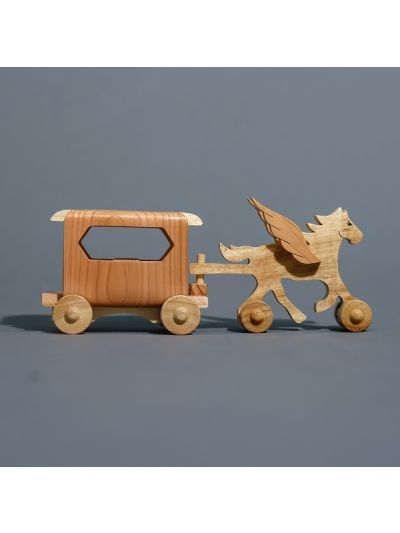 Wooden Single Horse Carriage - Eco Friendly, Unpainted, Clear Coated Wooden Craft.
