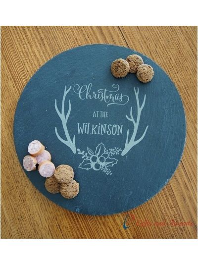 Personalised engraved slate round plate/serving board-cut edge, diameter 30cm-Christmas gift-Gift for family-Gift for them-Christmas at the...
