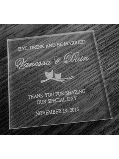 Personalised Acrylic Coaster, Square Shape - Wedding Favours - Set of 25