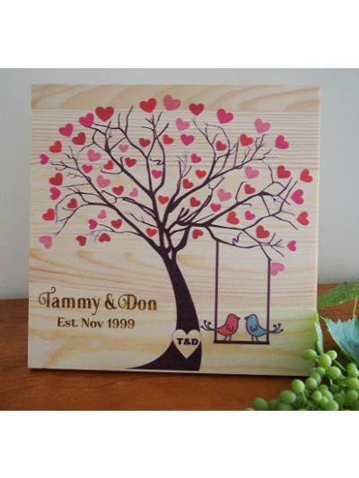 Personalised Solid Pine Wooden Decoration - LOVE Tree