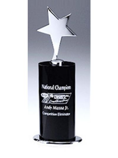Personalised Black Crystal Award with Star