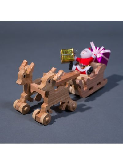 Wooden Santa Sleigh and Reindeer - Eco Friendly,  Unpainted, Clear Coated Wooden Craft
