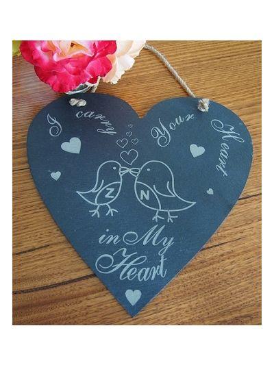 Personalised Slate Heart Shape Memo Board - I carry your heart in my heart