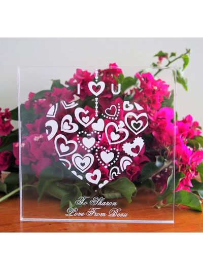 Acrylic Engraved & Personalised Plaque - I love you