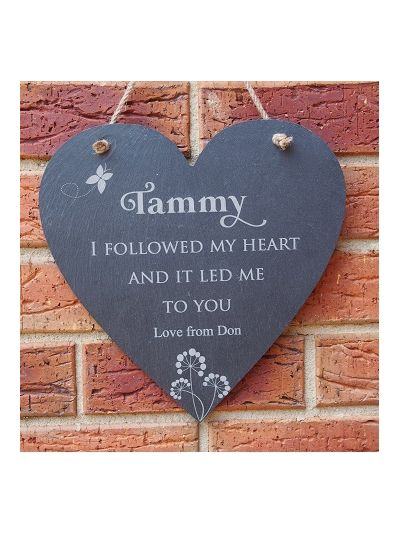 Personalised Slate Heart Shape Memo Board - I followed my heart