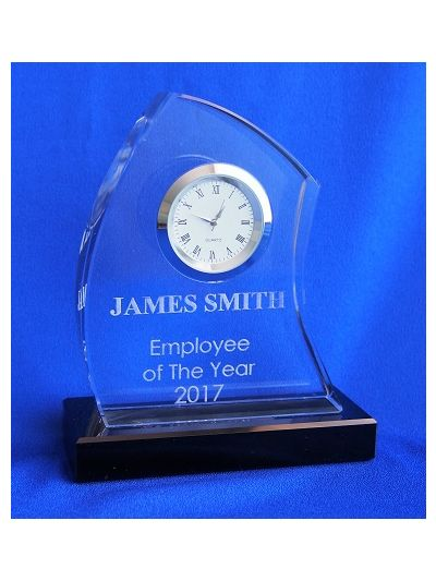 Personalised engraved crystal wave shape desk clock award with black crystal base - Employee of the year