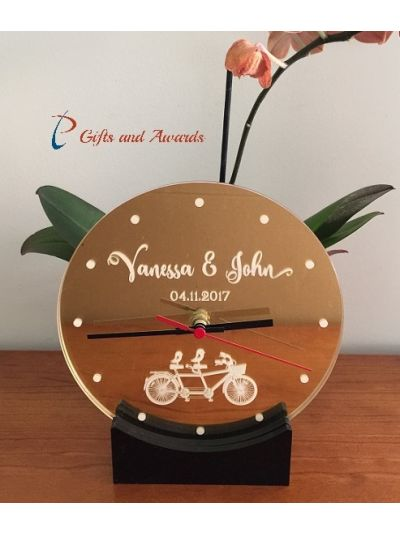 Personalised Acrylic Engraved Desk Clock with stand - Wedding gift - Valentines gift - Engagement gift - Anniversary gift - Gift for the couple