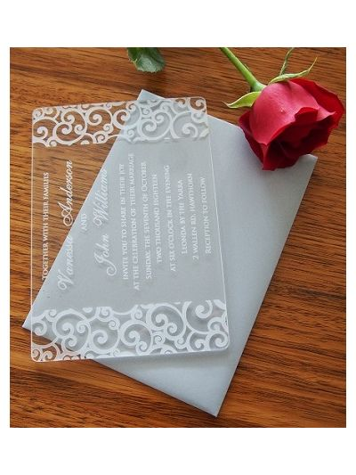 Personalised Laser Engraved Acrylic Wedding Invitation - size 17x12cm - Pack of 25 - Envelopes included - Design 10