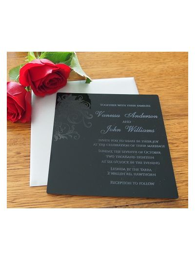 Personalised Laser Engraved Acrylic Wedding Invitation - size 15x15cm - Pack of 25 - Envelopes included - Design 1