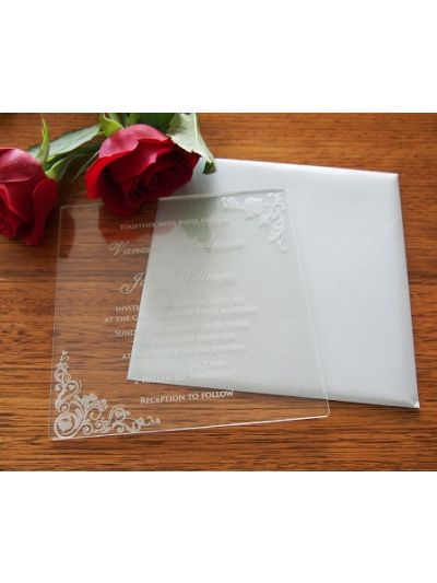 Personalised Laser Engraved Acrylic Wedding Invitation - size 15x15cm - Pack of 25 - Envelopes included - Design 2