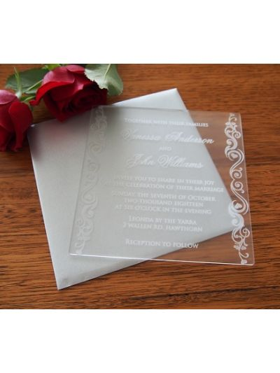 Personalised Laser Engraved Acrylic Wedding Invitation - size 15x15cm - Pack of 25 - Envelopes included - Design 4