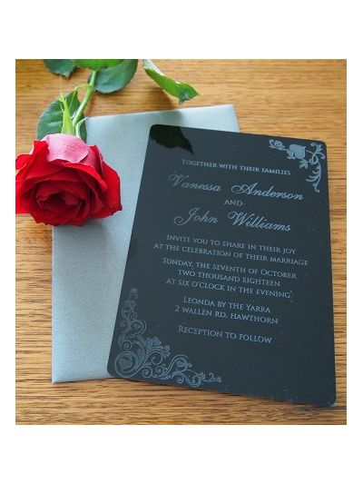 Personalised Laser Engraved Acrylic Wedding Invitation - size 12x17cm - Pack of 25 - Envelopes included - Design 6