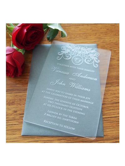 Personalised Laser Engraved Acrylic Wedding Invitation - size 12x17cm - Pack of 25 - Envelopes included - Design 7