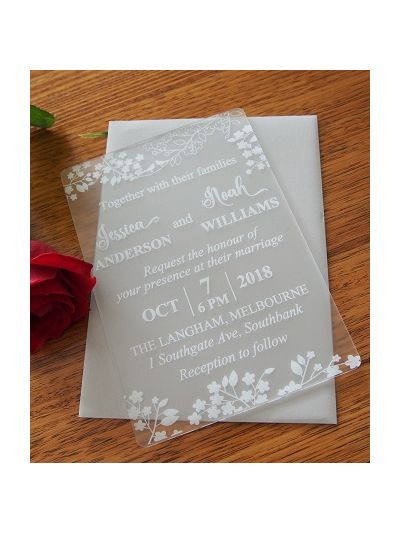Personalised Laser Engraved Acrylic Wedding Invitation - size 12x17cm - Pack of 25 - Envelopes included - Design 8