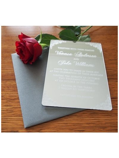 Personalised Laser Engraved Acrylic Wedding Invitation - size 12x17cm - Pack of 25 - Envelopes included - Design 9