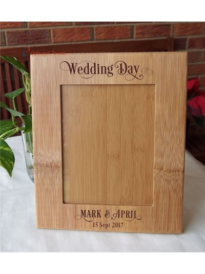 """WALL/DESK BAMBOO PHOTO FRAME -Personalised engraving  - holds 6x8"""" photo - Wedding gift / Anniversary Gift / Gift for Couple- Wedding Day - 2 ring image"""