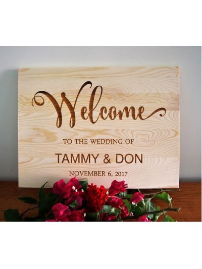 Personalised Engraved Solid Pine Wedding Welcome Sign - Rectangular shape 36x27x1.2cm - Welcome to our wedding